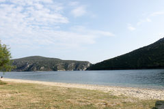 Bay view in Greece with nice hills covered with trees Stock Photography