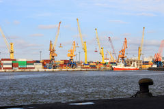 Bay View with heavy cranes and containers Royalty Free Stock Image
