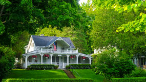 Bay View home. BAY VIEW, MI - JUNE 26, 2014: A quaint old homes serves as a bed and breakfast in this one-time Methodist retreat center lying on the shores of royalty free stock images