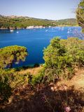Bay view in Porto Azzurro,  Italy. Panoramic view of Bay in Porto Azzurro, Elba island, Italy Stock Photo