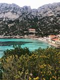 Bay view, Sormiou. Calanques National Park and spring adventure royalty free stock photography