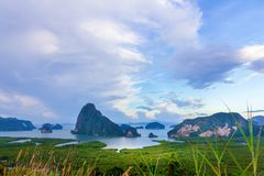 Bay views with many islands, beautiful sky at Samed Nang She, Ph. Ang Nga Province, Thailand Stock Photo