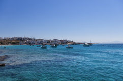Bay and village in Ano Koufonisi island, Cyclades, Greece Royalty Free Stock Photo