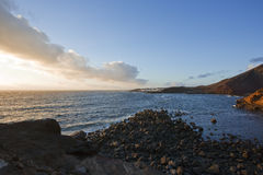 Bay and village of El Golfo, Lanzarote, at sunset Royalty Free Stock Photos