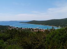 The bay of the village Ist in the Mediterranean. The bay of the village Ist on the island Ist in the Adriatic sea of Croatia royalty free stock images