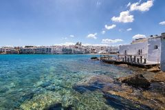 The bay at the village of Naousa on the cycladic island of Paros Stock Photography