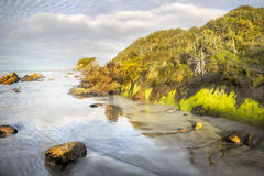 Bay on West Coastline, South Island, NZ. Bay on wild West Coastline of the South Island in morning light. Tasman Sea. New Zealand stock image