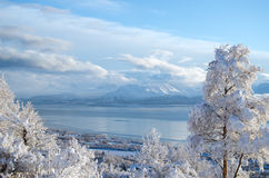 Bay in White. Perfectly clear cold day in winter overlooking Kachemak Bay Royalty Free Stock Images