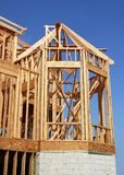 Bay Window Construction. Sideview of a bay window construction in wooden frame royalty free stock image
