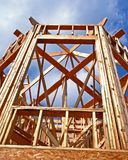 Bay Window Construction. Lower view of a bay window construction in wooden frame skeleton showing the roof framework stock photos