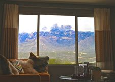 Bay window Mountain View. Picture perfect bay window view of mountains royalty free stock photo
