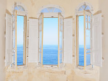 Bay window overlooking Mediterranean Sea Royalty Free Stock Images