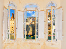 Bay window with view over Valetta harbor in Malta royalty free stock images