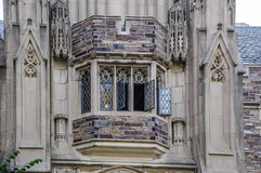 Bay window in the wall of the tower of medieval castle Stock Image