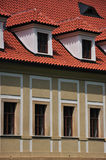 Bay windows and common windows - fasade. This is windows detail of colourful fasade of a house from 19. century Stock Image