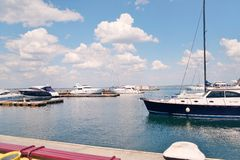 Bay with yachts Stock Photography