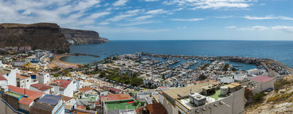 Bay with yachts beach and houses. In Puerto de Mogan in the Canary Islands royalty free stock photo