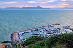 Bay for yachts and boats near Sidi Bou Said Royalty Free Stock Images