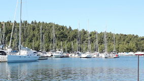 Bay with yachts stock video footage