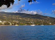 Bay with yachts. Tahiti. Stock Photos