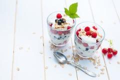 Baya acodada y smoothies naturales del yogur fotos de archivo libres de regalías