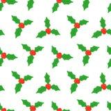 Baya del acebo Modelo inconsútil con la baya europea del acebo de la Navidad Muérdago de la Navidad Vector Foto de archivo libre de regalías