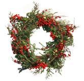 Baya del acebo y guirnalda de la Navidad del pino fotografía de archivo