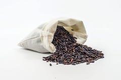 Baya del arroz en una cucharón de madera Imagen de archivo libre de regalías