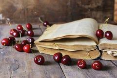 Baya retra del libro y de la cereza Imagen de archivo libre de regalías
