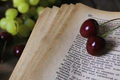 Baya retra del libro y de la cereza Imagenes de archivo