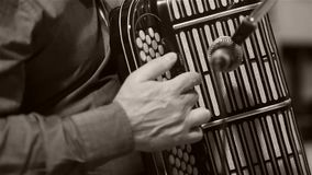 Man playing the Russian accordion. Bayan accordion Russian instrument. Man plays bayan accordion, close-up view stock video