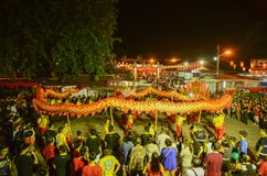Chinese celebrate chinese new year at snake temple with performance dragon dance. BAYAN BARU, PENANG/MALAYSIA – February 02 2016: Chinese celebrate chinese stock image