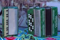 Bayan en harmonika groen op de lijst stock foto