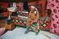 Old woman from Kazakh family of hunters with hunting golden eagles inside their the mongolian Yurts. Stock Photo