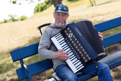 Bayan player is playing on the vintage accordion Royalty Free Stock Image