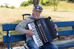 Bayan player is playing on the vintage accordion Stock Photography