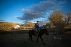 Kazakh Eagle Hunter at traditional clothing, on horseback in desert mountain of Western Mongolia. Royalty Free Stock Images