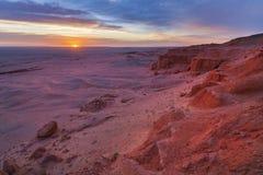 Bayanzag flaming cliffs at dawn. Photo of the Flaming cliffs in Mongolia, found in the Gobi Desert region taken during dawn stock image