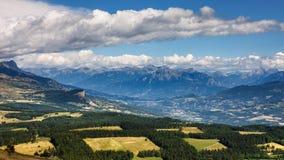 Bayard Plateau, Morgon magnífico y Batie Neuve Montañas, Francia Foto de archivo libre de regalías