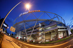 BayArena Stadium fish-eye outside view stock image