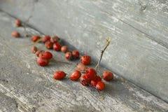 Bayas anaranjadas desecadas en la tabla de madera Foto de archivo