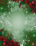 Bayas del acebo del fondo de la Navidad stock de ilustración
