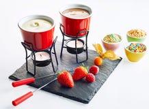 Bayas frescas con la 'fondue' de chocolate de la oscuridad y de la luz Foto de archivo libre de regalías