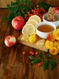 Bayas líquidas de la miel, del limón y de serbal rodeadas por las flores en un tablero de madera Imagen de archivo