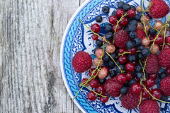 Bayas orgánicas frescas frambuesas, arándanos, pasas rojas imagenes de archivo