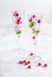 Bayas rojas congeladas en cubos de hielo con la menta en vidrios en el fondo de piedra Fotos de archivo libres de regalías