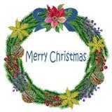 Bayas rojas del aguazo de la acuarela y la Navidad verde y Ri de las hojas libre illustration