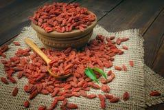 Bayas rojas secas del goji Imagen de archivo libre de regalías