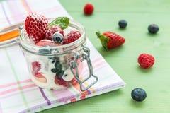 Bayas salvajes con el yogur en un tarro de cristal fotografía de archivo libre de regalías