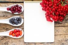 Bayas salvajes frescas con el cuaderno de papel en la tabla de madera Foto de archivo libre de regalías